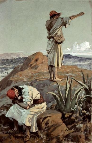 312.2/402 Elijah from Mount Carmel sees a cloud (1 Kings 18:44) gouache on board by Charles Hoffbauer after James Tissot Jewish Museum New York presented by Phillip Medhurst