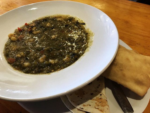 Green Chili Soup with Sopaipilla