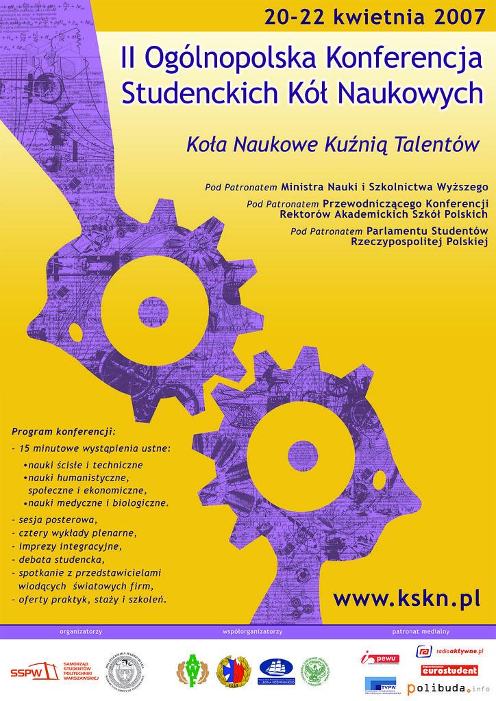 2007 Plakat Kskn Ii Ogólnopolska Konferencja Studenckich
