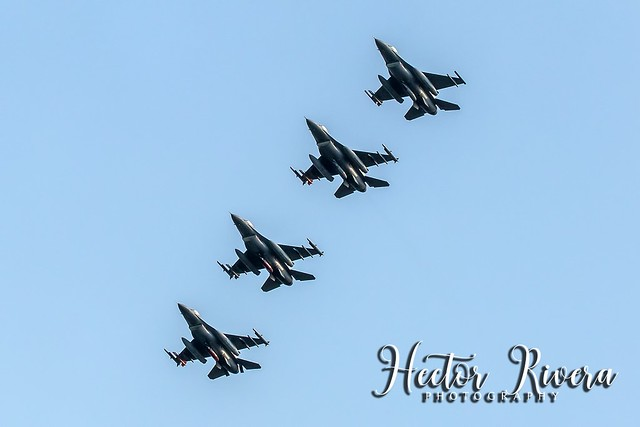 F-16s Echelon Right over SJU Airport 149FW SQ of San Antonio Texas.