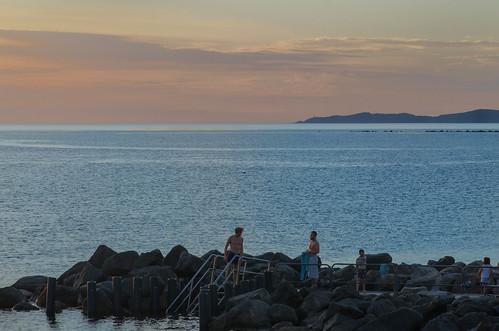 sunset water sea sky people öresund viken skåne sweden seascape landscape evening