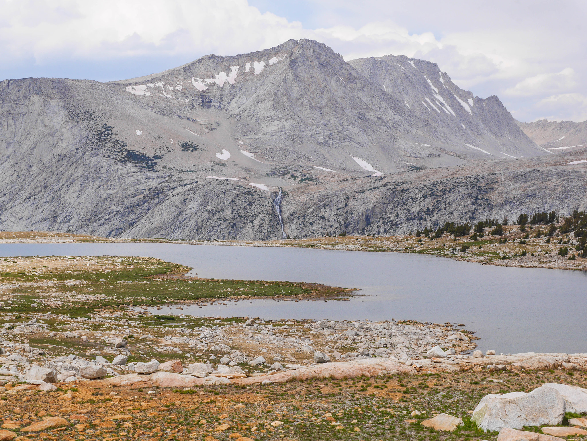 Puppet Lake and waterfall from Royce Lakes outlet