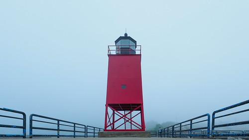 fisheye charlevoix lighthouse michigan lakemichigan red fog puremichigan olympus oly em1mkiiomdem1markii omdem1mkii 8mmf18 8mmf18fisheye getolympus symmetry symetrical