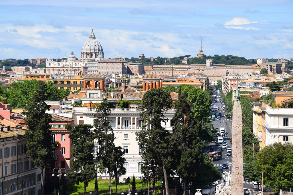 Italy Rome Terrazza Del Pincio Looking Out Across Rome