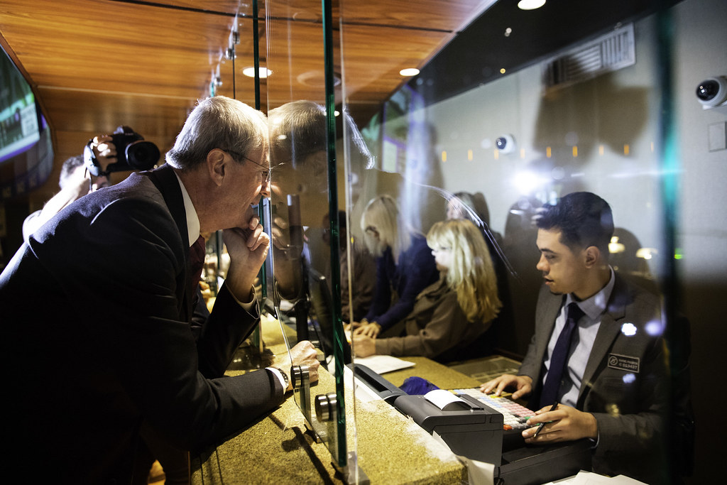 Governor Phil Murphy places his first two bets at the Borgata Casino during the first day of sports betting in New Jersey on Thursday, June 14, 2018. Edwin J. Torres/Governor's Office.