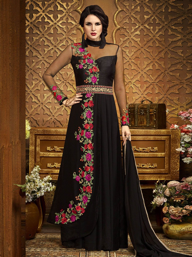 bf9688f7053a ... buy designer gowns online-shop party wear| long ethnic gown -Go4Ethnic.com