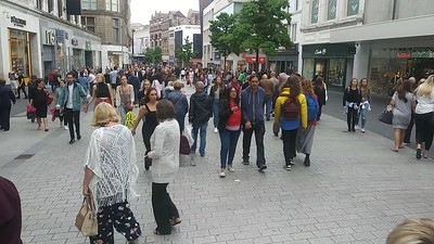 People walking in the Pedestrianized Center of Liverpool, Saturday June 2nd, 2018