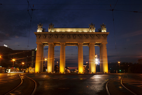 moscow gates saintpetersburg cityscape city night lights sunset road