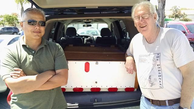 IMG_20160617_143917982 Chris Spellman and Glen w Durango holding 29 inch mirror in 37 inch box LA club members