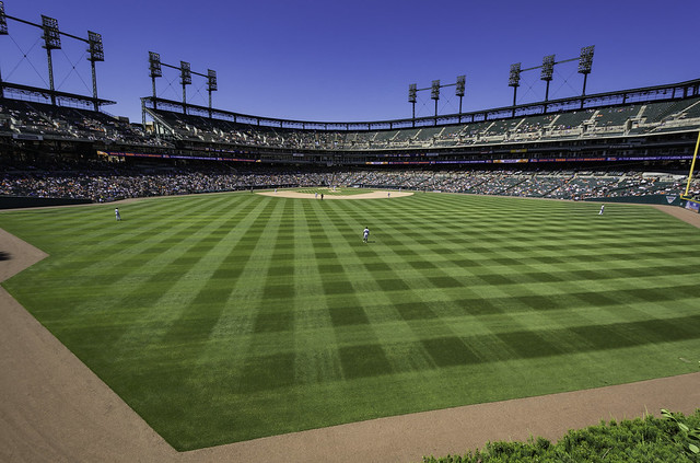 two perspectives from the outfield at Comerica Park