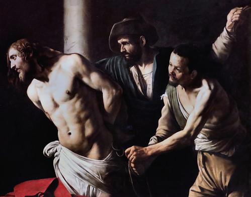 IMG_2377 Caravaggio (Michelangelo Merisi) 1571-1610) Rome Naples La flagellation du Christ à la colonne.  Vers 1607. The Flagellation of Christ at the Column  Rouen Musée des Beaux Arts.