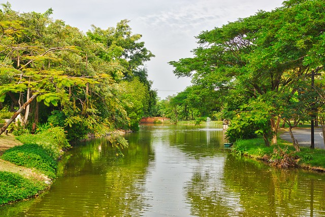Lake and trees in Muang Boran open air museum in Samut Phrakan near Bangkok, Thailand