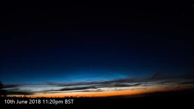 Noctilucent Cloud Timelapse 10th/11th June 2018