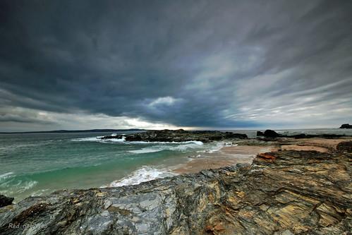 cornwall rugged coast sunset sea skystorm godrevy towans
