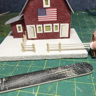 making a board fence for a Putz barn | by christmasnotebook