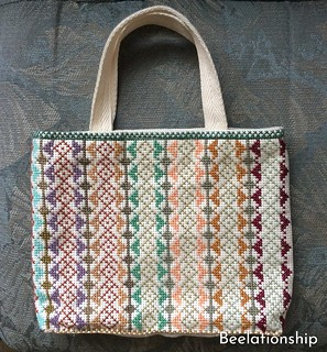 Square Motif Striped Tote Bag 002 | by Beelationship Embroidery Studio