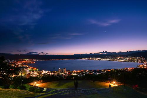 japan naganoprefecture sunset bluetime bluesky lakesuwa kamisuwa suwashi kisomountain tateishipark lighting 日本 長野縣 上諏訪 諏訪市 諏訪湖 藍色時光 夕景 立石公園 cloud scenery