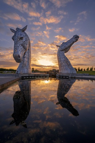 grangemouth scotland verenigdkoninkrijk gb kelpies sunset