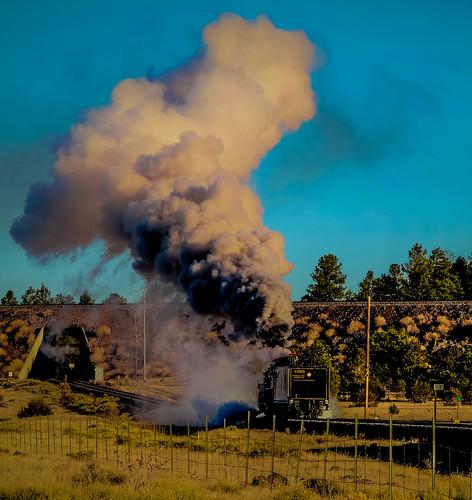 weather freezing cold smoke steam grandcanyonrailway excbq 4960 williams arizona landscape locomotive railroad route66 recyclevegetableoil biofuel