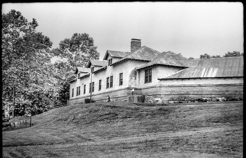 farm building, metal roof, Biltmore Estate, Asheville, North Carolina, FED 4, Industar 26, Arista.Edu 200, Ilford Ilfosol 3 developer, 6.3.18