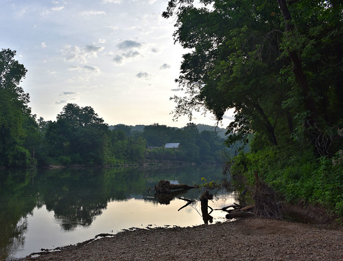 nikon d750 usa missouri pineville elkriver early morning reflection tree shore gravel day pwpartlycloudy sunrise