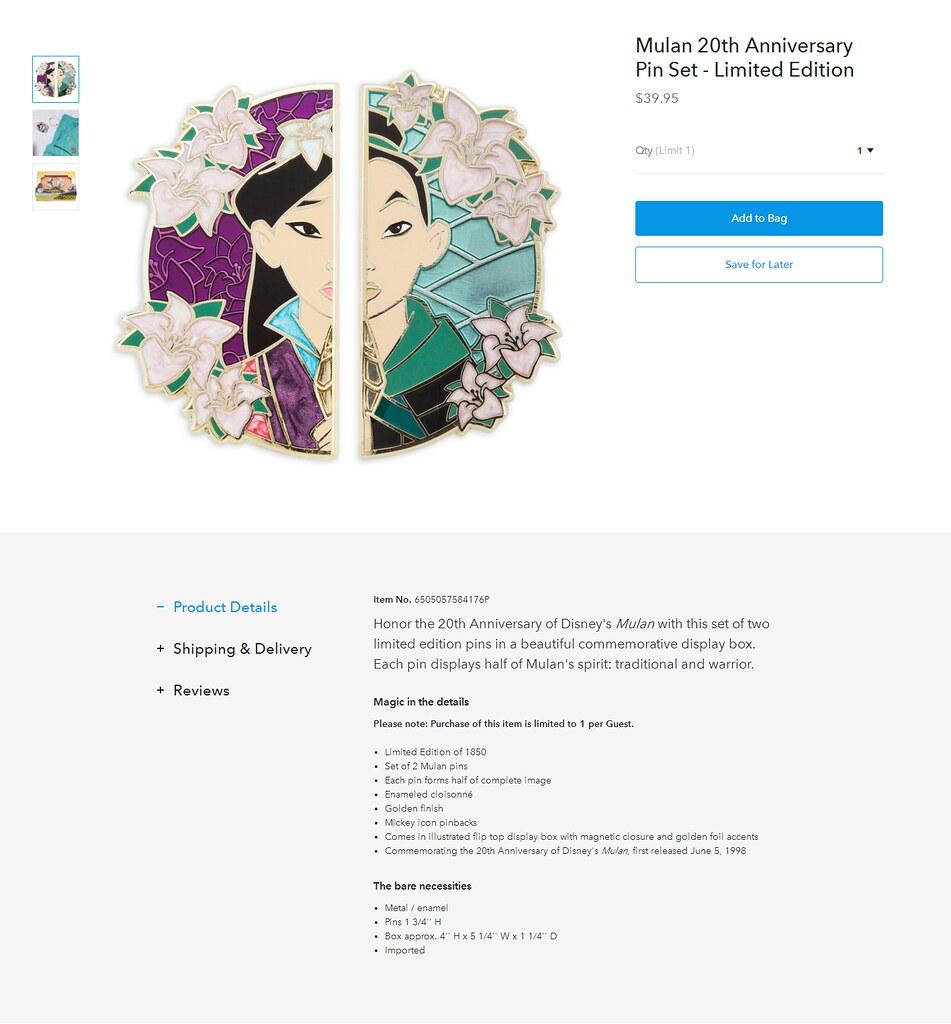 Mulan 20th Anniversary Pin Set - Limited Edition - US Disn