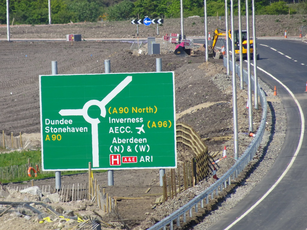 May 2018: Roundabout sign for  the AWPR (Aberdeen Western Peripheral Route) Aberdeen bypass dual carriageway near Cleanhill Roundabout at junction between bypass & fast link to Stonehaven