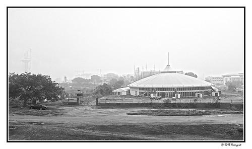 harrypwt nigeria samsungs7 s7 city landscape monochrome building harmattan dustrain bw abuja fct framed