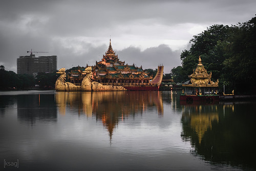 myanmar burma yangon rangoon palace architecture lake reflection water 2016 august city urban landscape asia southeastasia nikon wideangle hdr cloud