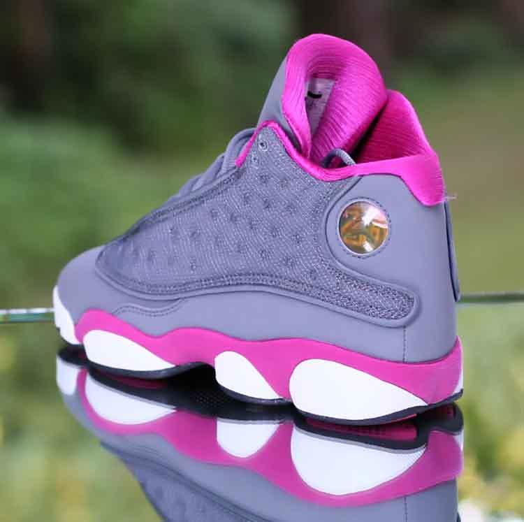 7f5aebfe754 ... Nike Girl's Air Jordan 13 Retro GS Cool Grey Fusion Pink 439358-029  Kid's Size