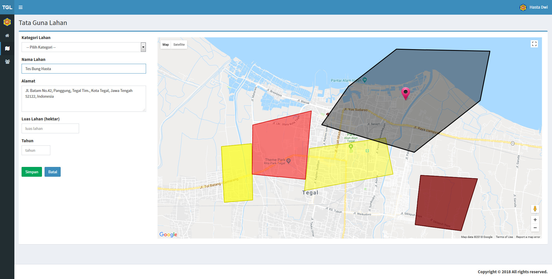 Sistem Pemetaan Tata Guna Lahan Kota Tegal