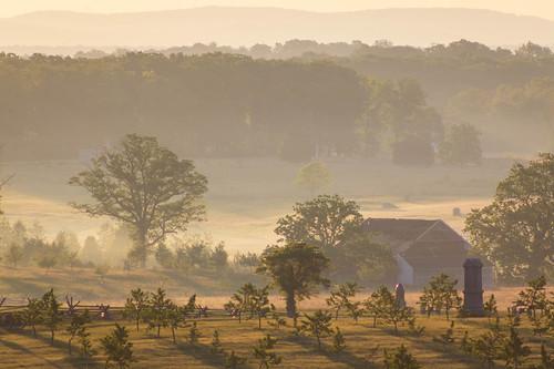 fog farm landscape tree gettysburg sunrise pennsylvania unitedstates us