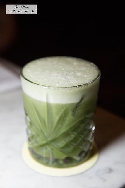 I Like to Matcha - Barstol pisco, Don Q añejo rum,.pineapple syrup, matcha chamomile syrup, lime juice, chocolate bitters, tonka beans tincture