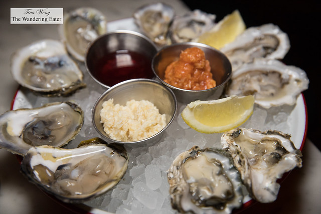 Five different oysters - Blue Points, Kumamoto, Capital, Malpeque, Malpeque
