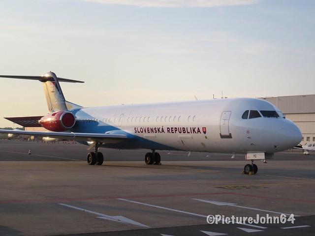 Slovak Government Flying Service Fokker 100 (OM-BYB) at Schiphol East