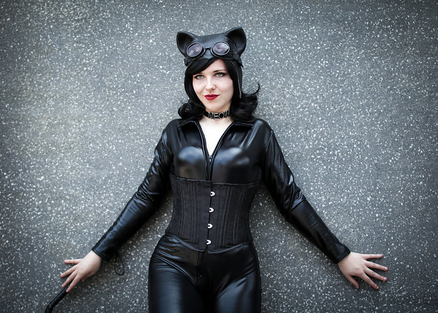 Catwoman cosplayer at ExCeL London's MCM Comic Con, May 2018