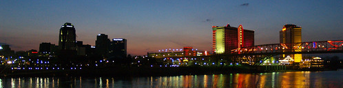 from red night river louisiana downtown view boardwalk shreveport