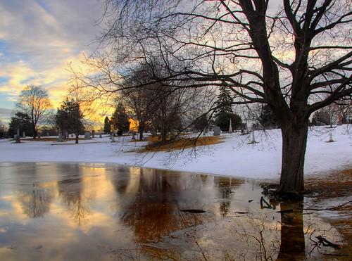 reflection water pool cemetery graveyard minnesota sunrise dawn pond twincities saintpaul hdr naturesfinest
