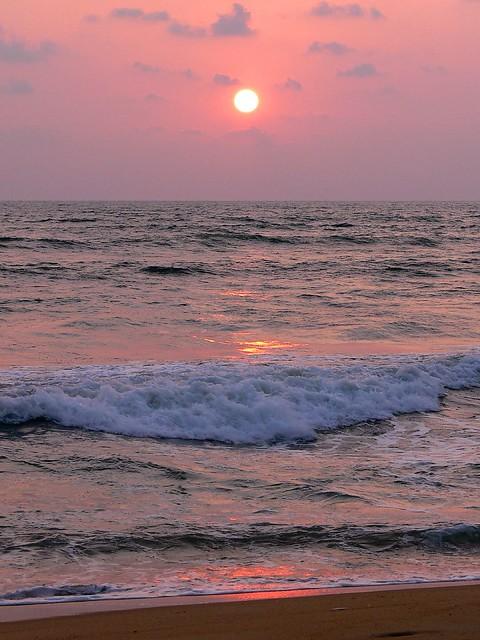 Wadduwa  Sunset, waves and light.