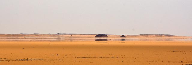 a mirage in the Sahara Desert