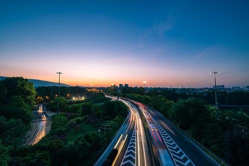 nanjing city urban sunrise highway road transportation sky cloud light tree neon twilight dawn nikon nikond800 tamronsp1530f28