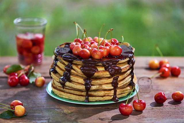 Pancakes with chocolate and cherrys
