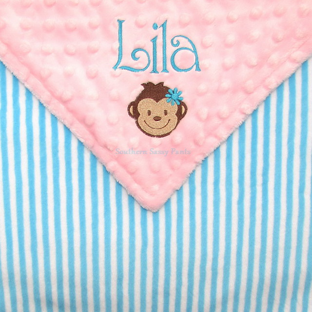 Embroidered Baby Girl Monkey Blanket