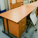 E185 beech straight desk with peds