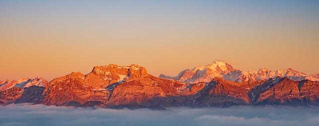 Coucher de soleil Mont Blanc depuis le Semnoz