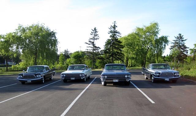 Fin cars on TV film set
