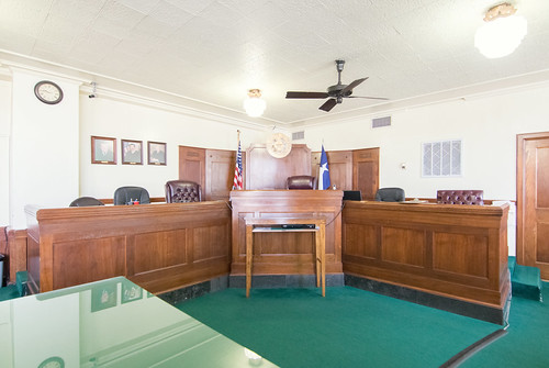 liberty county co district courthouse court house texas tx judge justice trial law legal lawyer attorney jury bench juror gallery courtroom interior photography