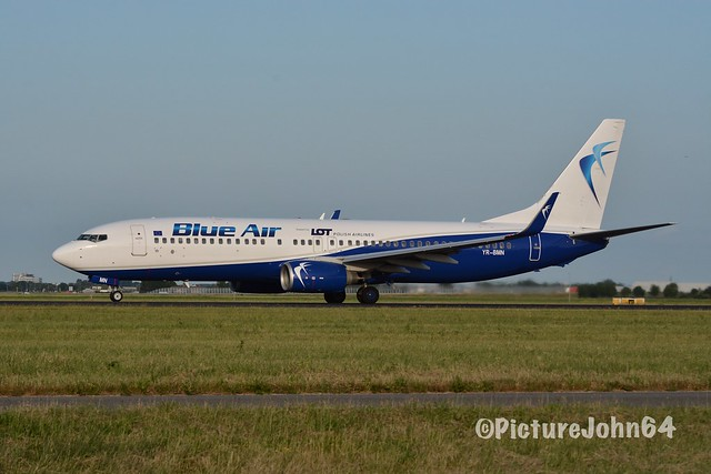 LO268 Blue Air (for LOT Polish Airlines) Boeing 737 (YR-BMN) departing from Schiphol Amsterdam to Warsaw Chopin