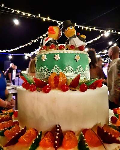 Wedding cake #wedding #cake #ducks #marzamemi #sicily #igers #igersitalia #colorful #colors #party #beccacimmi #beccacimmiwedding #lights #dark #love | by Mario De Carli