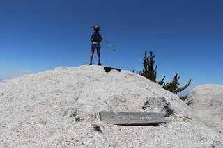 422 Vicki standing on the Mount Saint Ellen's summit, showing the wooden sign and peak register | by _JFR_